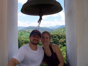 We climbed the church bell tower in Antigua Ocotepeque for this picture. The tower is REALLY tall. So much for being afraid of heights!