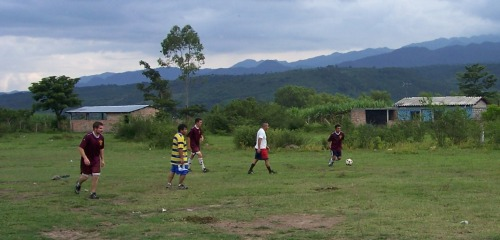 Bart and his soccer team at their first Saturday afternoon practice. They play on a field just behind the project.