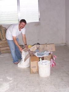 Bart moving some construction materials at the Casa Hogar.