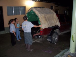 "Our ""Toyota Covered Wagon"" the night before the journey to Tela."