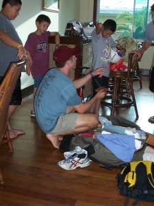 Hunter shares some gifts he brought for Rony and his family. The gifts ranged from new shoes to a soccer ball.