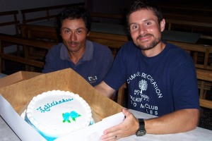 Our friend, Santos, brought Bart a birthday cake. It was delicious!