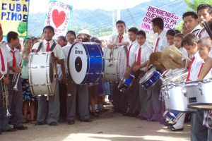 The band that welcomed us to the community of Tacuba.