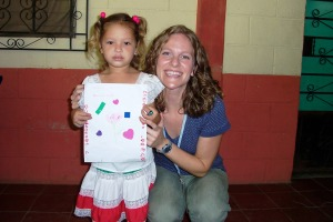 Annie and Alma, a little sponsored girl in San Jacinto. She's only four and she can already write her name. She said that her and Annie had the same color hair.