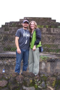 At the foot of a Mayan pyramid at the Tazumal ruins.